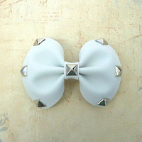 Studded Hair Bow in White