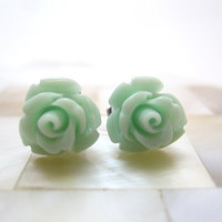 Mint green rosette earrings pale green roses by LazyOwlBoutique