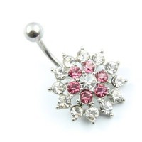 316L Surgical Stainless Steel Two Color Rhinestone Navel Belly Bar Ring Barbell Body Jewelry: Jewelry: Amazon.com