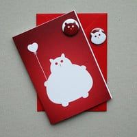 Kawaii cute fat kitty cat valentines card red by thenosuchdisco