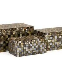 One Kings Lane - Finishing Touches - Set of 3 Noida Mosaic Boxes