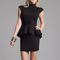 Black Mock Neck Business Dresses
