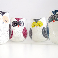 Painted Owl Wine Glasses- Set of 4 by SwirlyGarden