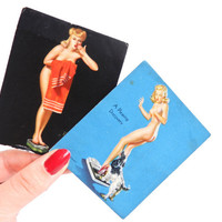 SALE - Pin Up Girl Card Lot -  Original 1940s Earl Moran & Gil Elvgren Vintage Ephemera / Bathroom Scale Scene