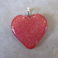 Sparkly Red Heart, Dichroic Glass Heart Pendant, Omega Slide, Love Jewelry, Etsy Fashion Jewelry - Loving Feeling - 4079 -3
