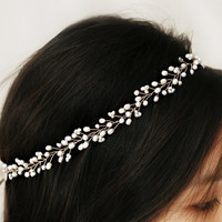 Bridal Freshwater Pearl Hair Vine Halo by VirginiaGeigerJewels