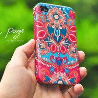 Apple iphone case for iphone iphone 3Gs iphone 4 iphone 4s iPhone 5 : Vintage Indian Floral Design