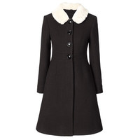 Orla Kiely - Heavy Wool Fur Collar Coat