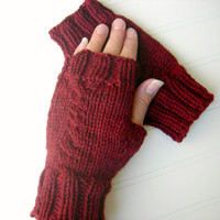 Soft Merino Wool Knit Fingerless Gloves Dark Red by WindyCityKnits