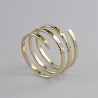 14K Yellow Gold Filled Handcrafted Spiral by Holylandstreasures