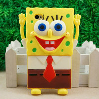 Christmas Spongebob 3D Back Case for iPhone 4 4G 4S Yellow
