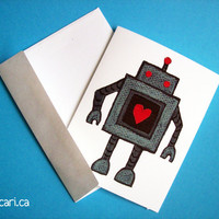 Robot Love Set of 4 Note Cards by sacari on Etsy