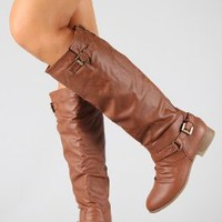 Amazon.com: COCO 1 Womens Buckle Riding Knee High Boots TAN: Shoes