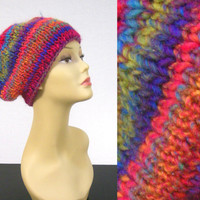 Bright Knit Hat Warm and Colorful by NikisKnerdyKnitting on Etsy