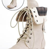 Jetta25 Combat Back Zip Mid Calf Boots NATURAL - Combat Boots - Popular