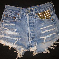Vtg Levis 501 High Waist Cut Off Silver Studs Shorts Waist 23 Hips 30 Rise 9