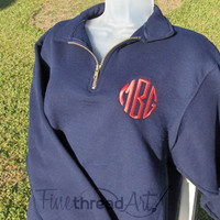 Monogram Quarter Zip Sweatshirt Jacket Ladies by finethreadart