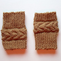 Hand Knitted Madison Cable Boot Cuffs in Tan / CARMEL