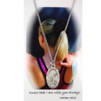 Girls Gymnastics Religious Sport Medal Prayer card set Christian Catholic Gift: Jewelry: Amazon.com