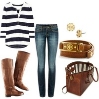 Style! / i love it all--stripes, bag, boots, earings and belt!