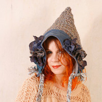 Gnome hat blue Woman pixie hat Crochet hat blue Hobbit hat Knit hat blue Crochet hat woman Teen hat crochet Wool hat blue Woman hat