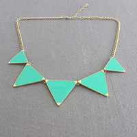 5 triangle necklace ,mint green triangle necklace, hop pink triangle necklace---2 color for choice