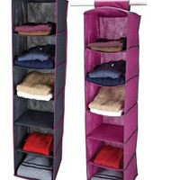 College Storage Necesity - 6 Shelf Closet Organizer - Pewter &amp; Orchid