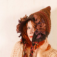 Brown hat woman Woodland hat Woman pixie hat Brown purple hat Gnome hat Crochet hat woman Hobbit hat Brown wool hat Adult crochet hat