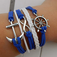 Navy blue bracelets, ancient silver anchor, rudder, unlimited hope bracelet