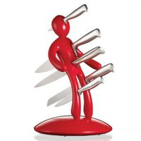Amazon.com: The Ex 5-Piece Knife Set with Unique Red Holder Designed By Raffaele Iannello: Kitchen & Dining