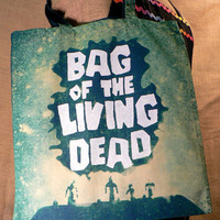 Medium Teal Bag of the Living Dead Tote by glbcreations on Etsy