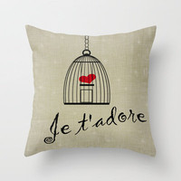 Je t'adore Throw Pillow by Rachel Burbee | Society6