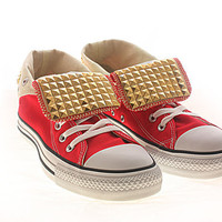 Studded Converse Gold Pyramid studs with converse Red high top by CUSTOMDUO on ETSY