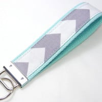 Key Fob Keychain Wristlet Grey White Chevron Fabric on Aqua Blue Cotton Webbing