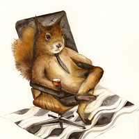 "Squirrel art- ""Duncan"" ....coworker, boss, men, mid century modern"
