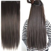 "Amazon.com: Fashionable 23"" Straight Full Head Clip in Hair Extensions - Dark Brown: Beauty"
