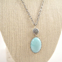Turquoise Pendant Necklace on Antique Silver Chain by shopkim