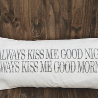 Always Kiss Me Goodnight 12 x 24 Lumbar Pillow Cover, wedding gift, engagement gift, newlywed gift, couple, love, Valentines day