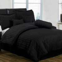 Amazon.com: Chezmoi Collection 7 Pieces Black Cotton Jacquard Damask Stripe Comforter/bed-in-a-bag Set Queen Size Bedding: Home & Kitchen