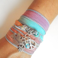 Peace Sign silk wrap bracelet Hamsa hand of Fatima good luck charms Peace on earth bohemian bracelet jewelry birthday holiday gift  idea