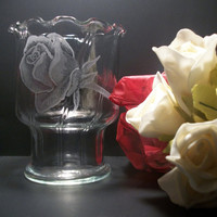 Valentines day rose bud glass Votive by GlassGoddessNgraving