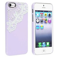 Amazon.com: eForCity Snap-on Case Compatible with Apple iPhone 5, Purple with Lace and Pearl: Cell Phones &amp; Accessories