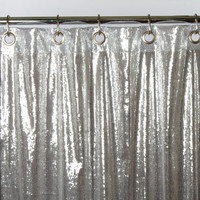Silver Solid Sequin Shower Curtain - Sin in Linen Bedding
