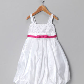 Chic Baby - White & Fuchsia Bubble Dress - Toddler & Girls