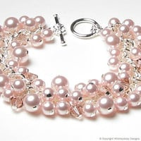 Rose Chiffon Swarovski Pearl &amp; Crystal Charm by whimsydaisydesigns