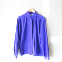 vintage 80s blouse / purple blouse /  secretary blouse