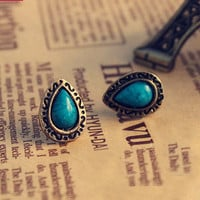 Retro Blue Tophus Water-drop Engraving Earring&stud
