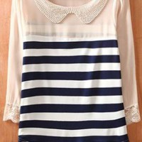 Navy Beige Striped Long Sleeve Chiffon Blouse S011