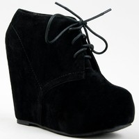 Glaze CAMILLA-1 Lace Up Platform Wedge Heel Ankle Boot Bootie