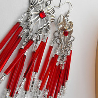 Red Chandelier Earrings by GiltyGirlVintage on Etsy